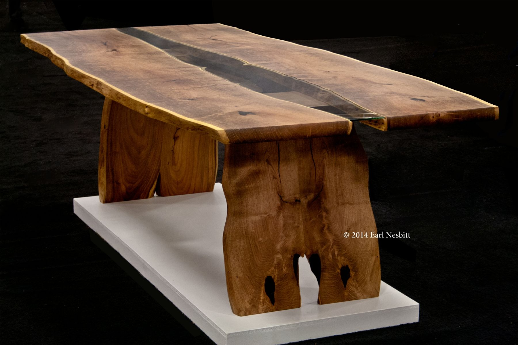 Hand Crafted Dining Table Live Edge Slab Table With Inset Glass By Earl Nesbitt Fine Furniture