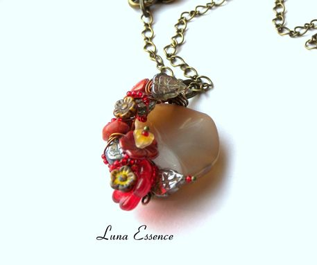 Custom Made Jewelry Pendant Red Jasper Adventurine Floral Climbing Vines