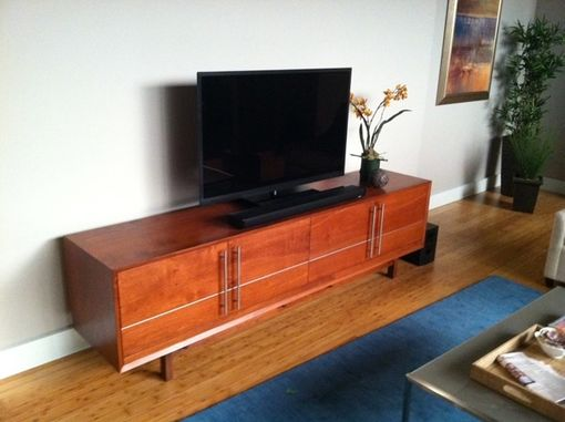 Custom Made Modern Credenza With Metal Inlay