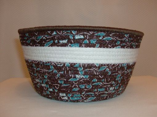Custom Made Fabric Bowl - Coiled - Medium Round - Brown/Turquiose With Shimmery White Accent Fabric
