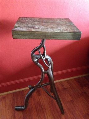 Custom Made Abstract Sculptural Forged Steel End / Pedestal Table