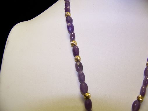 Custom Made Stunning Genuine Amethyst Geode 14k Gold Wire Wrapped Pendant, With Purple Jade Beads & Gold Fi.