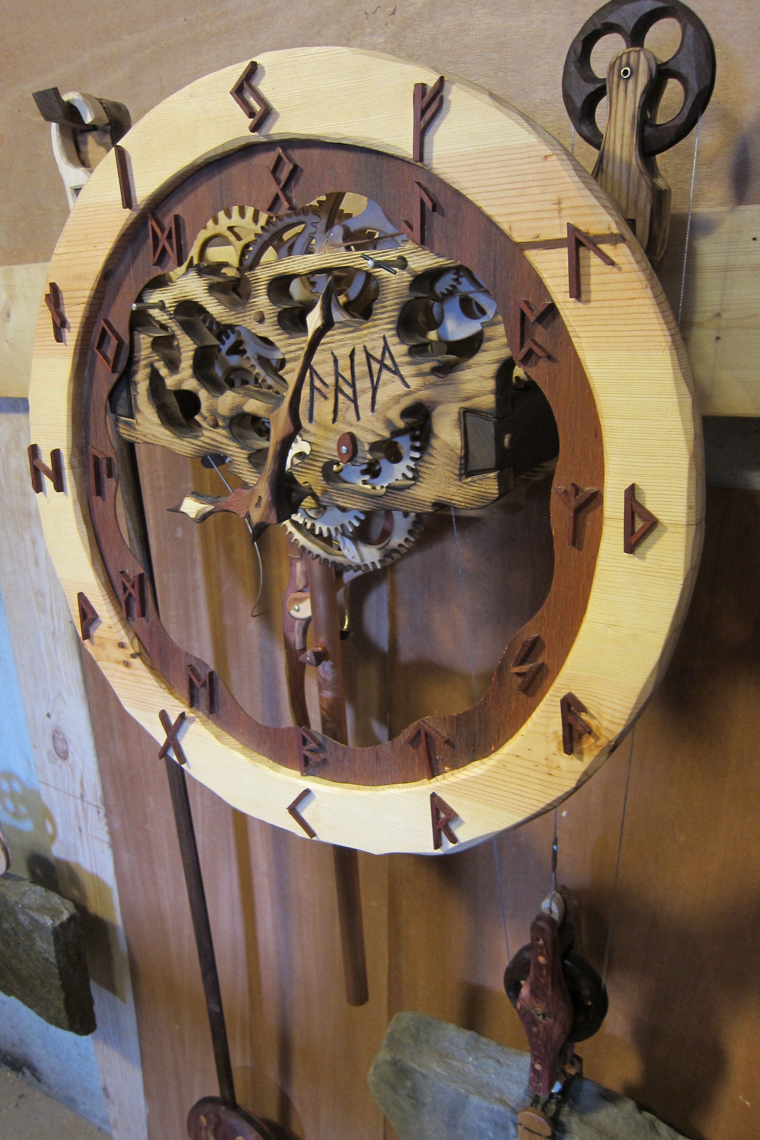 Hand Crafted Carved Wooden Gear Clock Viking