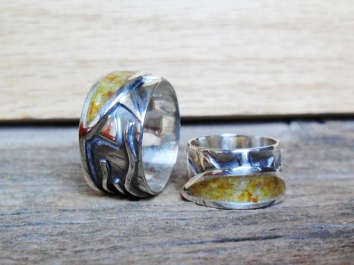 Custom Made Sterling Silver Mens Or Womens Ring With Amber And Citrine Inlay, Sun Design Ring
