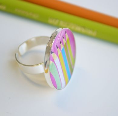 Custom Made Drawing Pencil Ring - Adjustable Pink Ring- Funky Jewelry