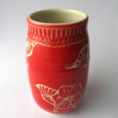 Custom Made Handmade Stoneware Vase With Butterfly And Leaves In Red