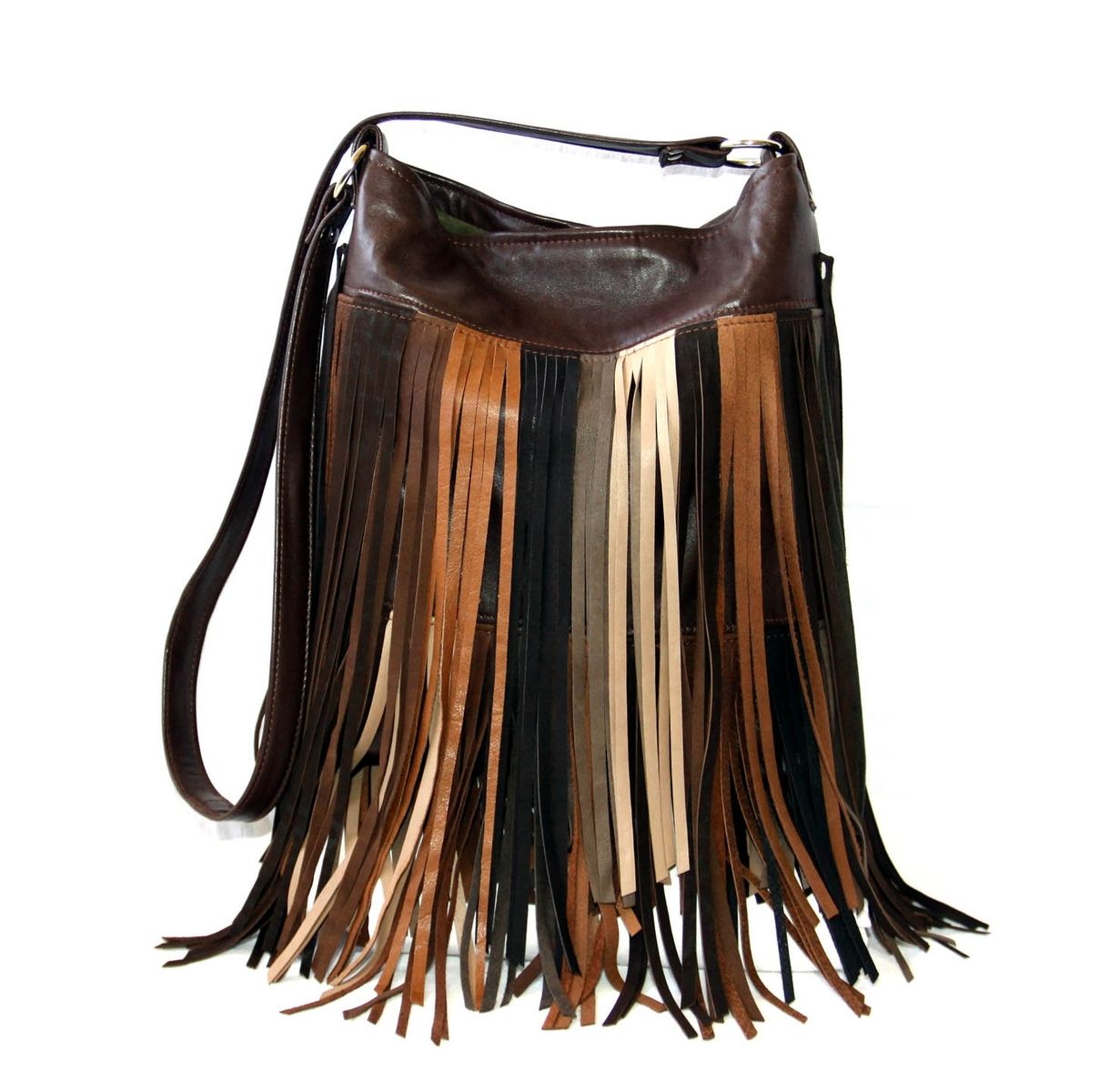 Custom Made Upcycled Leather Fringe Handbag Multi Colored Browns