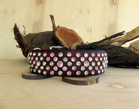 Custom Made Dog Collar, Leather, Paved Stones, Pink And White