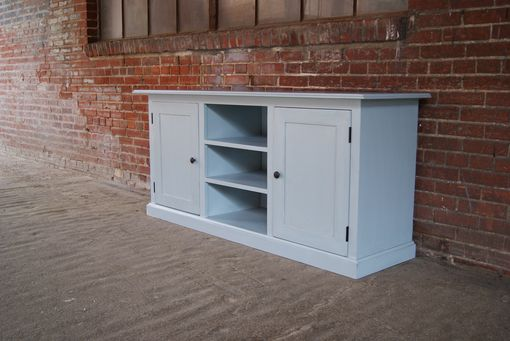 Custom Made Blue Shaker Door Media Center