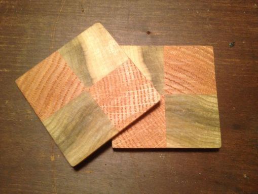 Custom Made Checkerboard Coasters - Small - Poplar, Red Oak, And Aspen - Waterproof - Set Of 4