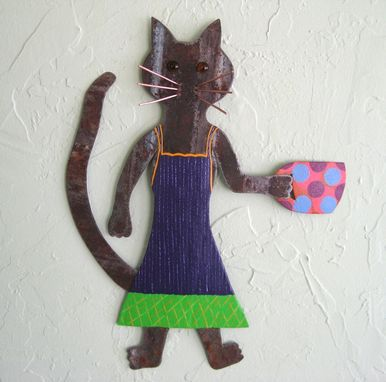 Custom Made Handmade Upcycled Metal Coffee Cat Wall Art Sculpture In Blue And Green