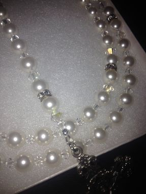 Custom Made White Swarovski Crystal Pearl Rosary Quniceanera Baptism Communion Confirmation