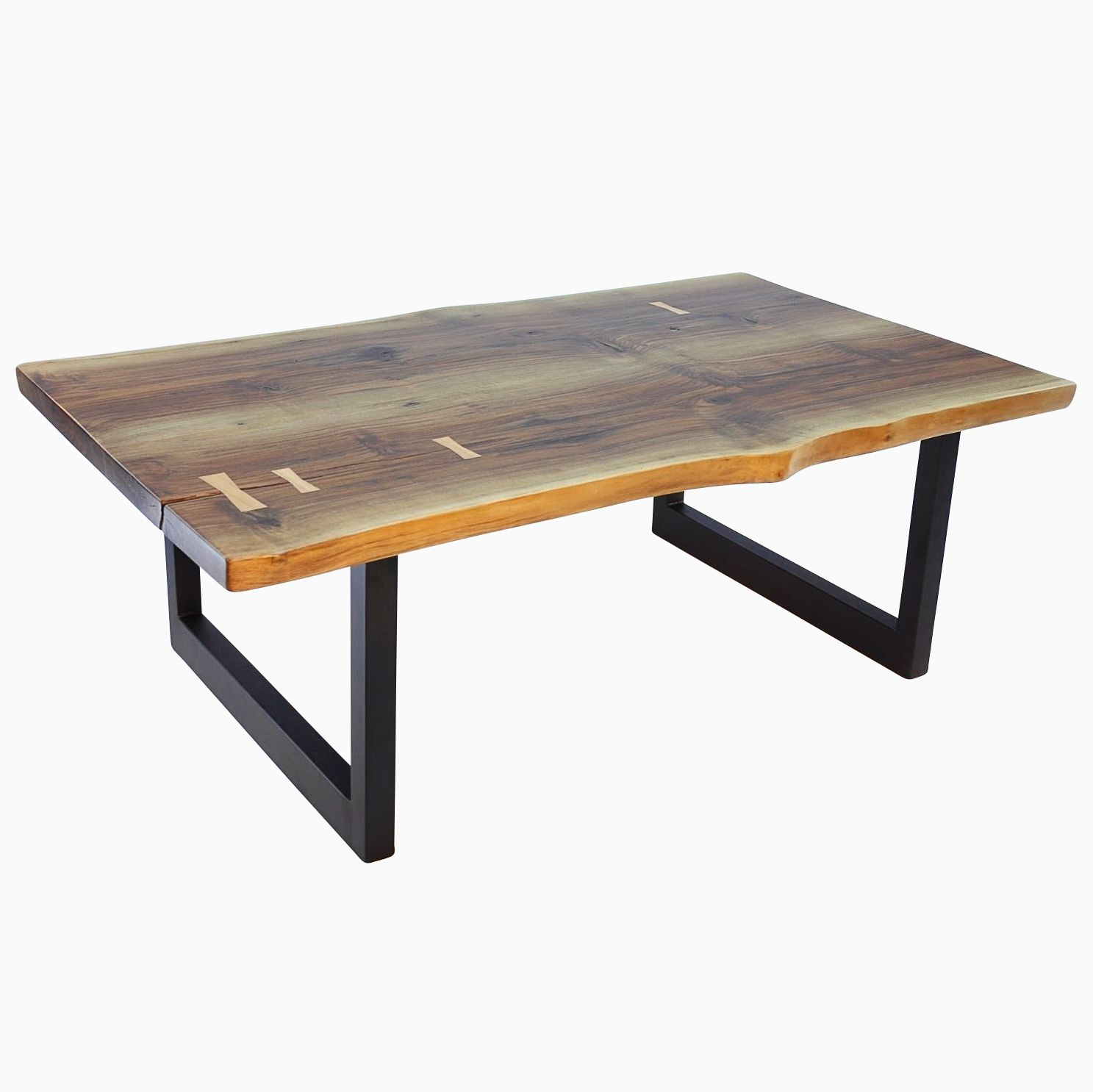 Vintage Industrial Live Edge Walnut Slab Coffee Table: Hand Crafted Walnut Slab With Maple Butterfly's Aurora