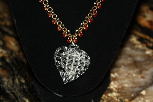 Custom Made Lacey Glass Heart On A Chain Maille Necklace With Red Glass Beads