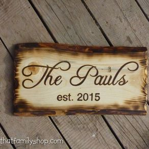 rustic name sign with burned edges by andrew lund wood sign design ideas - Wood Sign Design Ideas