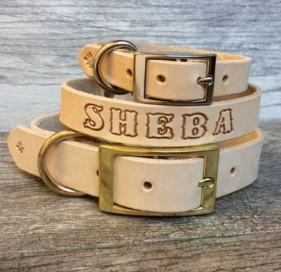 Custom Made Handmade Solid Leather Dog Collar With Free Name