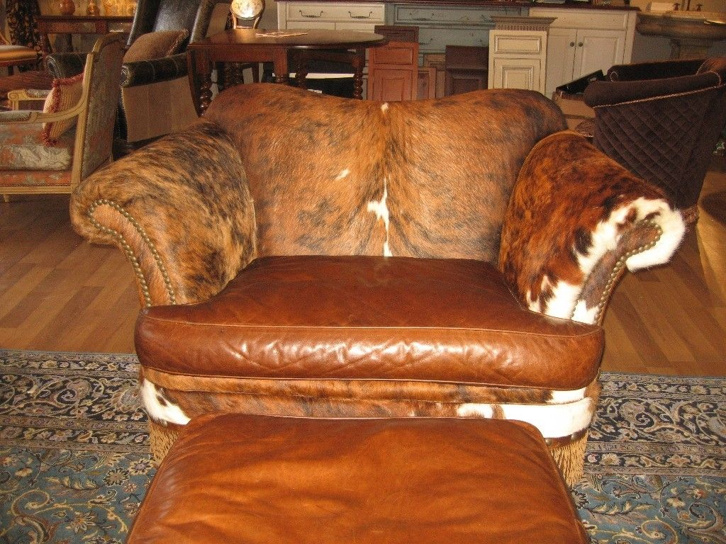 Custom Made Hair Hide And Twisted Leather Fringe Chair A Half With Matching Ottoman By Ttt Llc Custommade