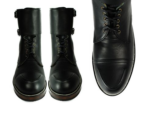 Custom Made Byron Double Buckle Black Leather Combat Boots.
