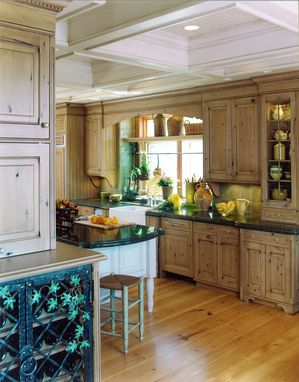 Custom Made French Country Kitchen Remodel Of Wood, Stone & Metal