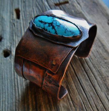 Custom Made Turquoise And Copper Cuff Bracelet