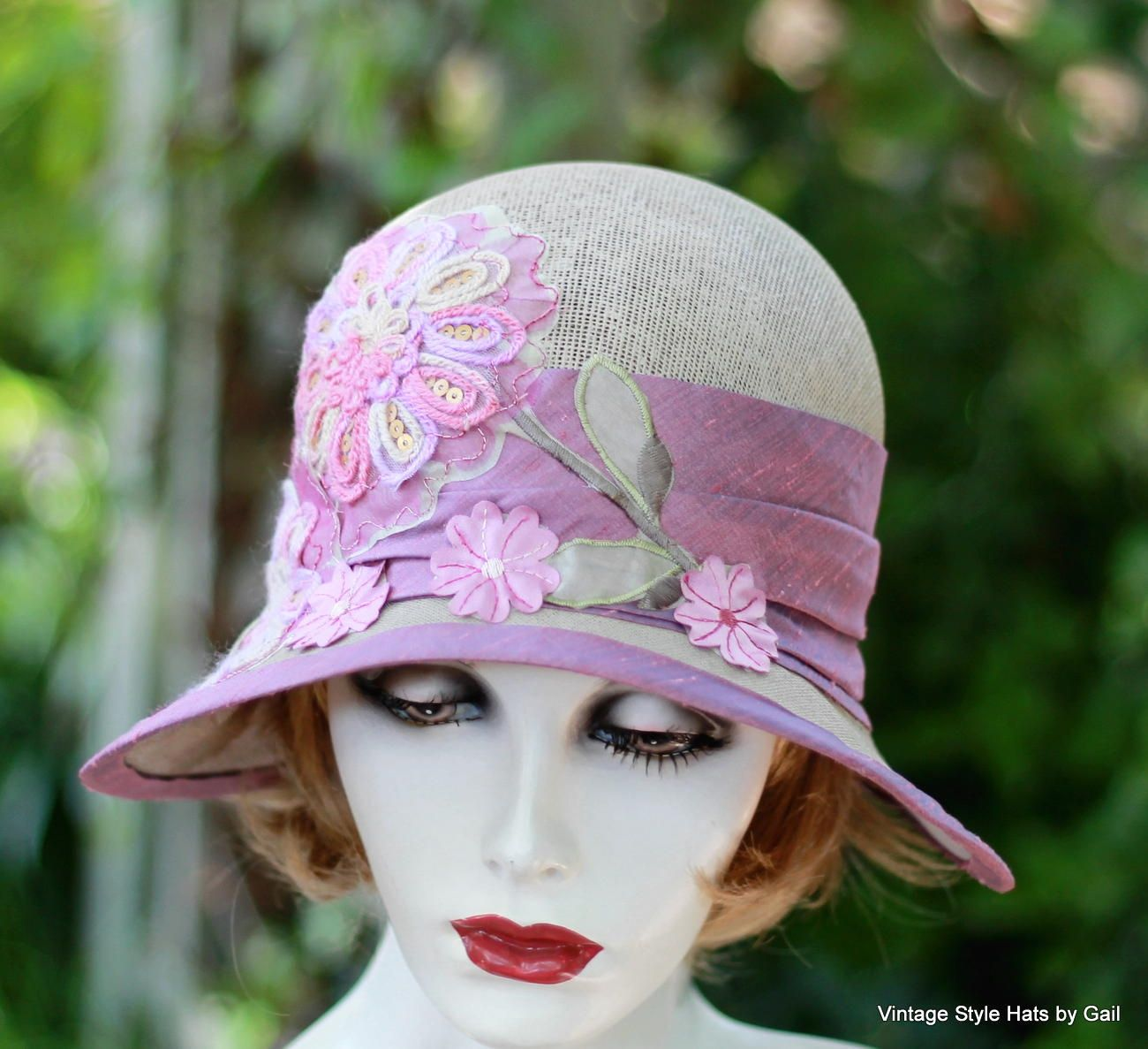 Custom Made Pretty Pink Roaring Twenties Vintage Style Cloche Summer Hat Hat 5523c60fc80