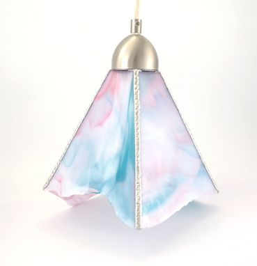 Custom Made Pendant Light Pink White Teal Stained Glass Handmade