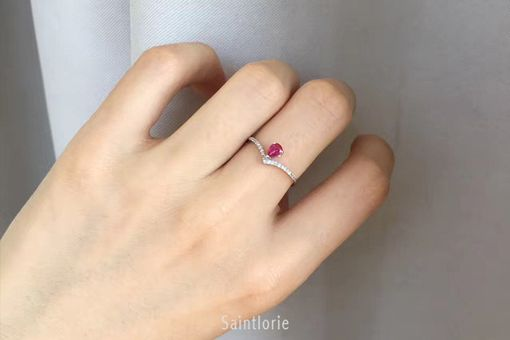 Custom Made 0.3 Carat Ruby Engagement Ring