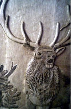 Custom Made Bull Elk Relief Carving