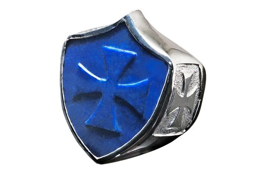 Custom Made A Regnas Shield Shape Statement Ring Lapis And Silver
