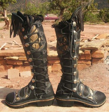 Custom Made Black Buffalo Leather Boots With Python Teardrop Skin Inlays And Buffalo Nickle Buttons