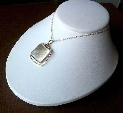 Custom Made Mother Of Pearl & Gold Filled Square Drop Necklace
