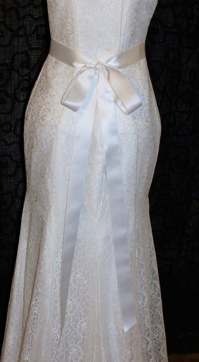Custom Made Gorgeous Bridal Dress With Double Sided Off White Satin Ribbon