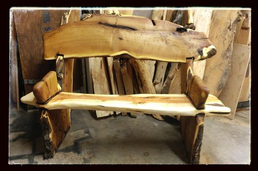Custom Made Live Edge Rustic Bench-Crotch Wood Slabs
