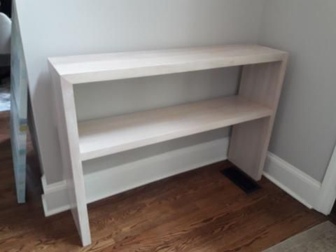Custom Made White Washed Waterfall Console Table