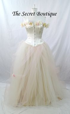 Custom Made Corset With Flowers Bridal Gown