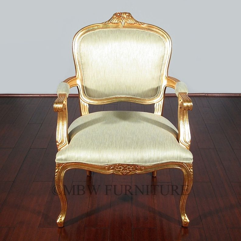 Custom Made Solid Mahogany Gold French Occasional Accent