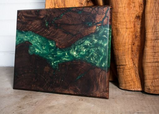 Custom Made Walnut Live Edge W/ Emerald-Gold Color Shift Resin River Art, Cheeseboard/Cuttingboard/Lazy Susan
