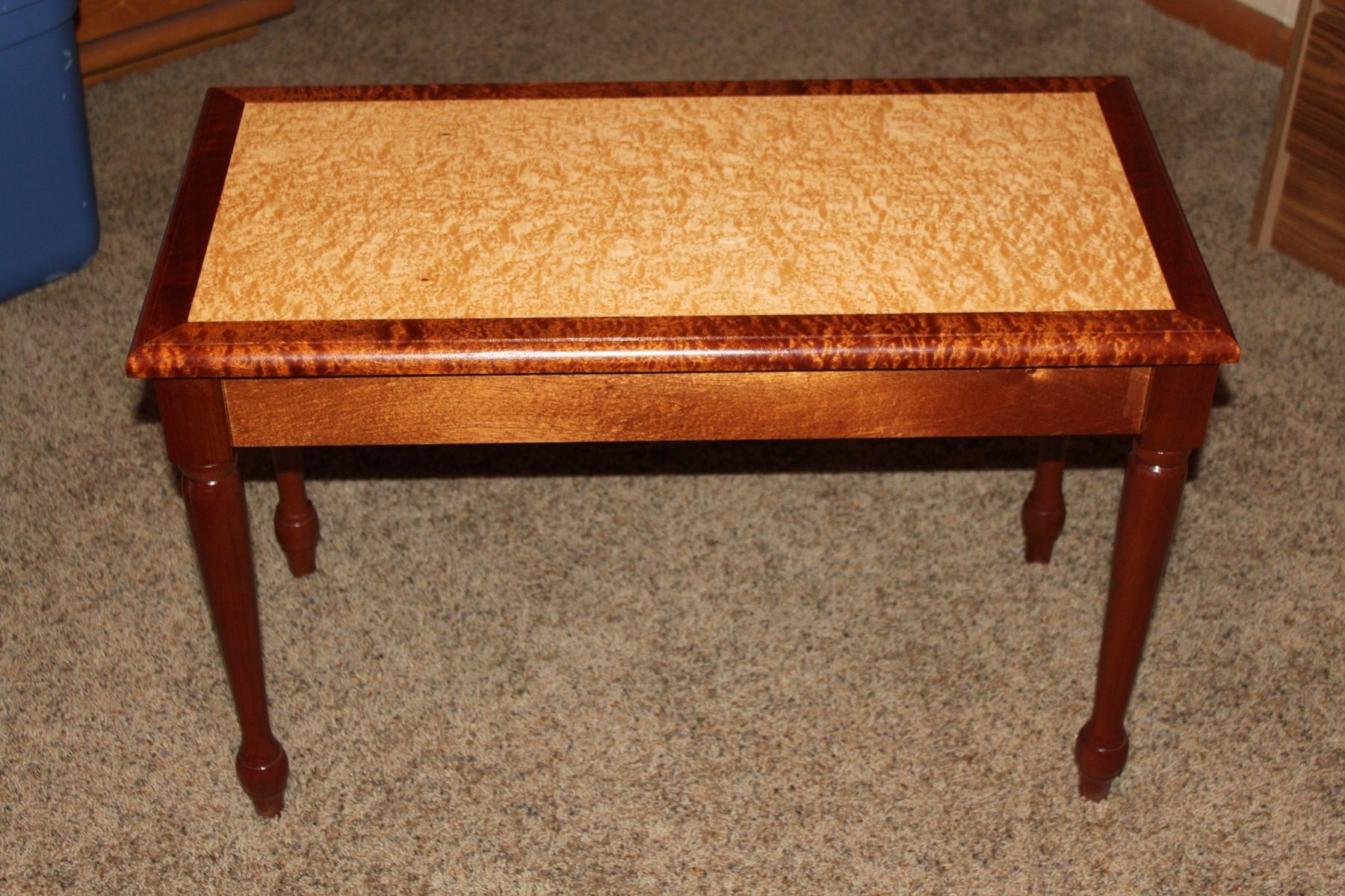 Custom Made Sapele And Birdseye Maple Piano Bench By J And