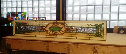 Custom Made Stained Glass Transom - Art Nouveau Design (Tw-61)