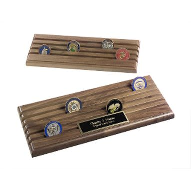 Custom Made Coin Display Rack With 6 Rows, Walnut Wood, Holds Up To 36 Coins
