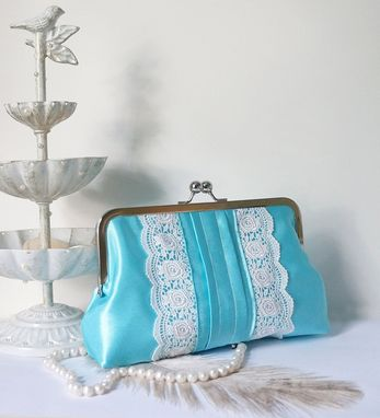 Custom Made Aqua Blue Pleated Clutch Purse With Lace Trimming