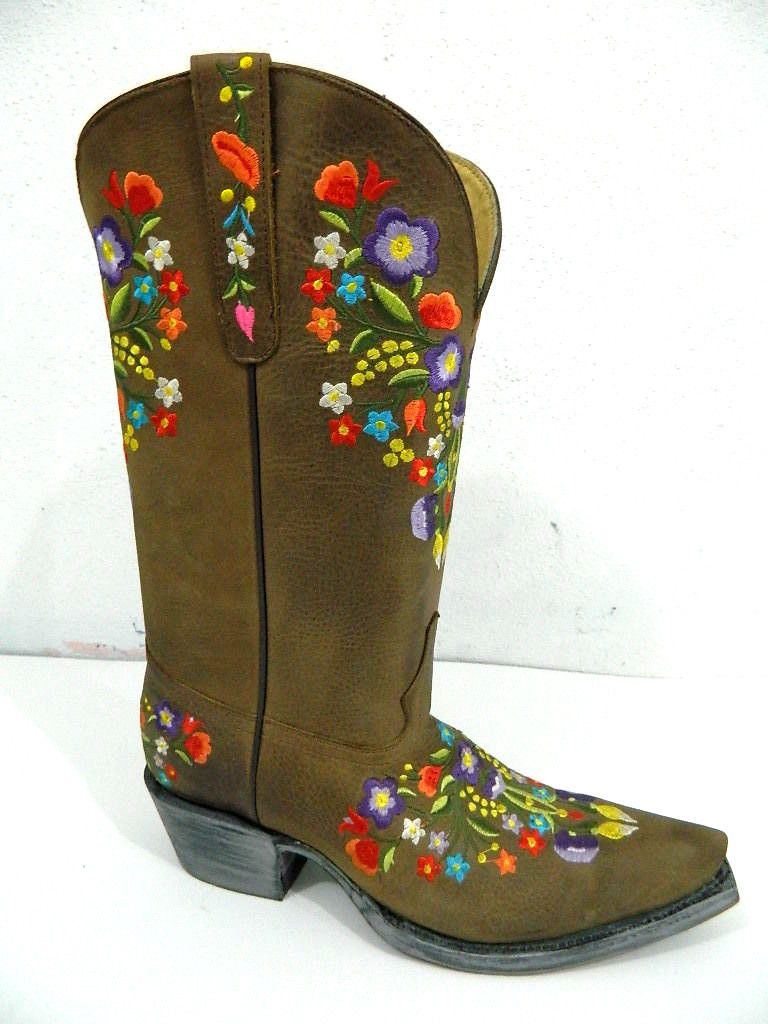 Hand Crafted Colorful Floral Embroidery Brown Distressed Leather Cowgirl Boots Made To Order By