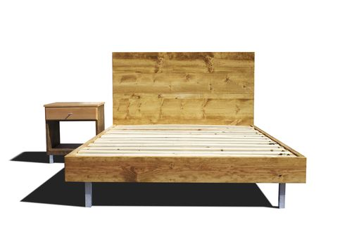 Custom Made Platform Bed Frame And Headboard Set With Metal Legs - Modern Bed Frame