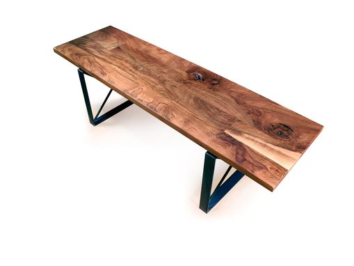 Custom Made Walnut And Steel Bench