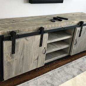 rustic industrial barn board media stand w sliding doors by jeremy paradis - Tv Stands Entertainment Centers