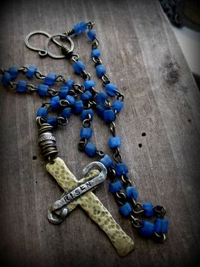 "Custom Made Brass And Silver Cross Necklace With Blue Glass Beads ""Our Father's Promise''"