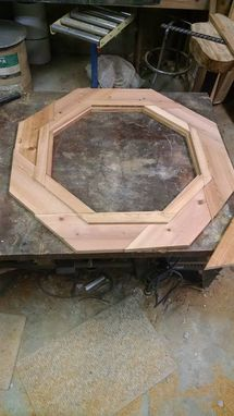"Custom Made 36"" Octagon Shaped Cypress Glass Top Outside Bar Display Table, Metal Base!"