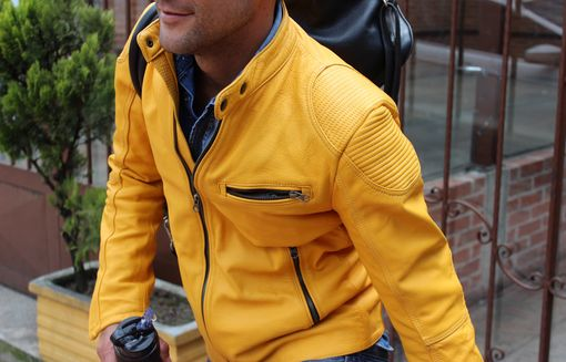 Custom Made Bungalow Leather Jacket In Golden Yellow - Custom Fit