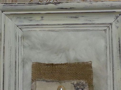 Custom Made Large Chunky Distressed Wood Frame With Fur, Vintage Earring,Burlap