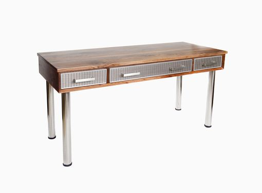 Custom Made Walnut Desk In Mid Century Modern Style